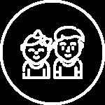 Immagine icona di due bimbi stilizzati